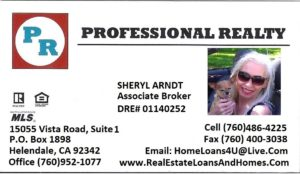 Sheryl Arndt, Professional Realty card